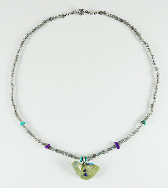 Serpentine Feathered Friend Necklace With Labradorite Beads