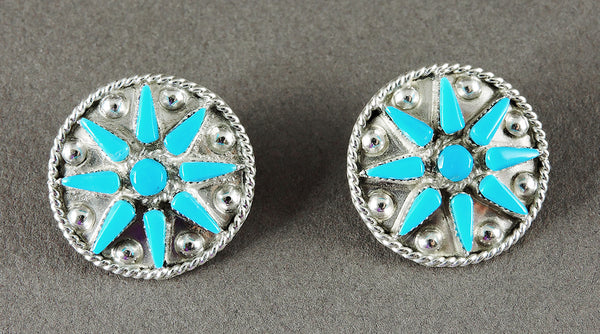Sleeping Beauty Turquoise Petit Point Starburst Earrings