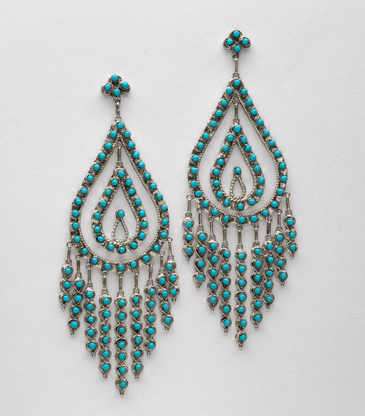 Show Stopper Petit Point Turquoise Earrings