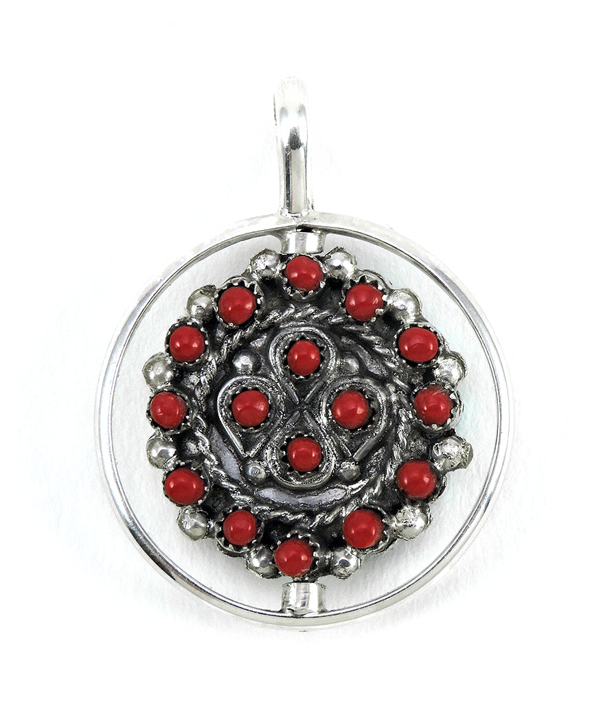 Red Coral & Sleeping Beauty Turquoise Reversible Spinner Pendant