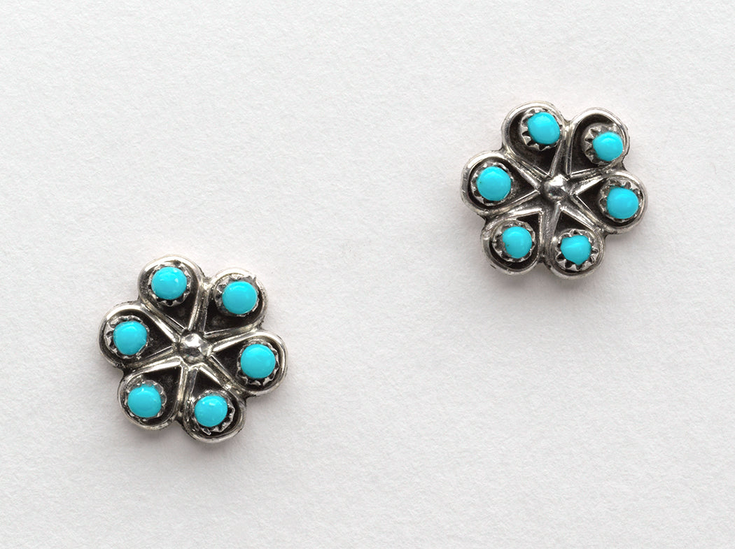 Sterling Silver & Sleeping Beauty Turquoise Small Petit Point Earrings