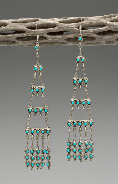 Sleeping Beauty Turquoise Chandelier Earrings