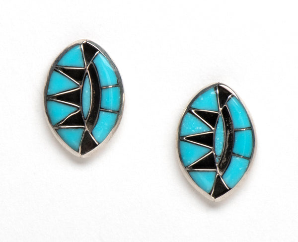 Sleeping Beauty Turquoise Channel Inlay Earrings