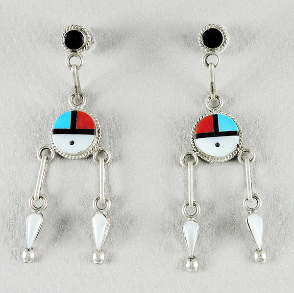 Inlaid Sunface Earrings With Turquoise, Jet, Red Coral & Mother-Of-Pearl