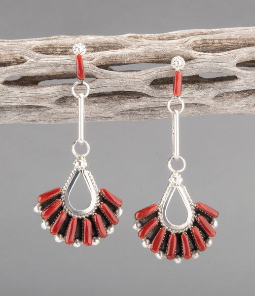 Be Mine Red Coral Petit Point Earrings