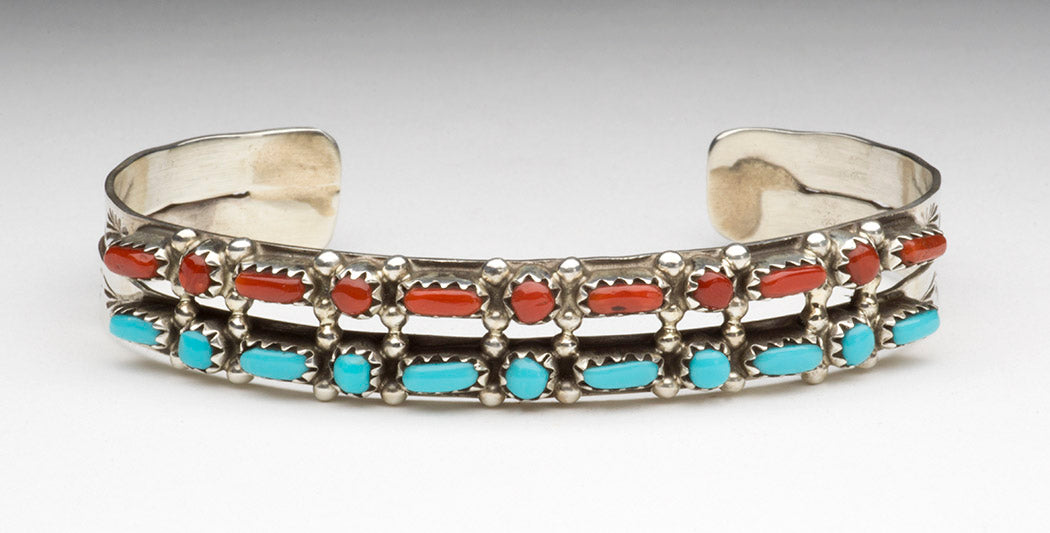 Red Coral & Turquoise Petit Point Cuff Bracelet