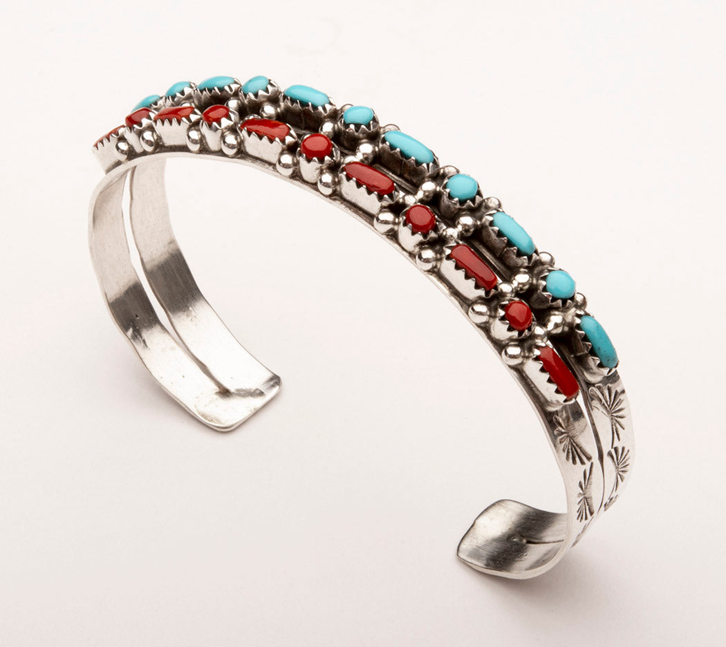 Natural Red Coral & Sleeping Beauty Turquoise Petit Point Cuff Bracelet