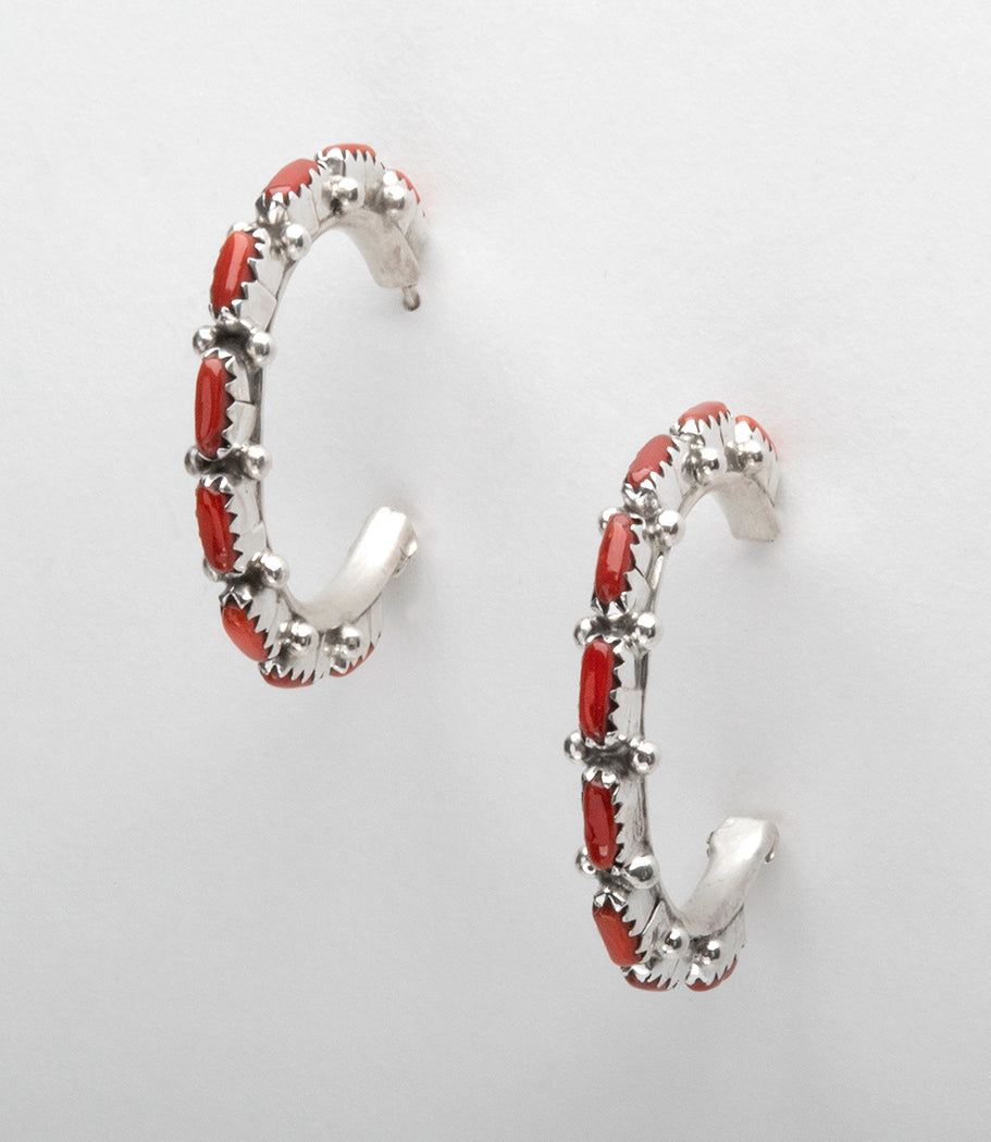 Sterling Silver & Natural Red Coral Petit Point Hoop Earrings