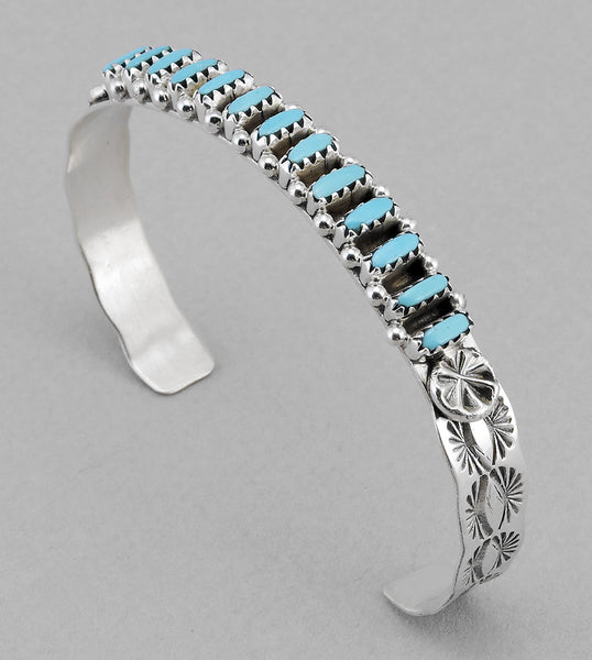 Splendid Kingman Turquoise Petit Point Cuff Bracelet