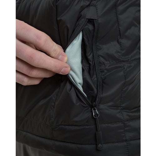 Down jacket zippered micro fleece lined hand warmer pockets