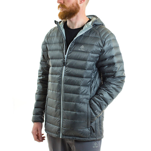 Ultralight Hooded Down Jacket front, Granite Grey