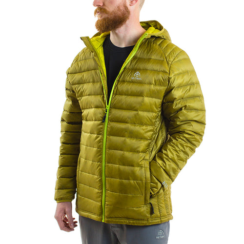 Ultralight Hooded Down Jacket front, Golden Moss