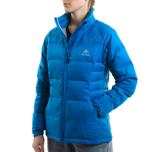 Light Down Jacket front, Mykonos Blue