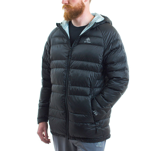 Light Down Hooded Jacket front, Black