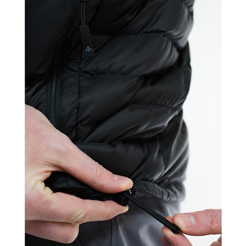 Down jacket hem draw cord