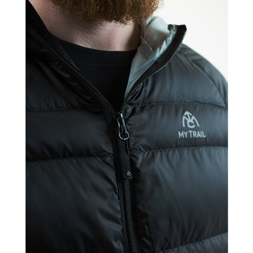Down jacket front zipper with internal storm flap
