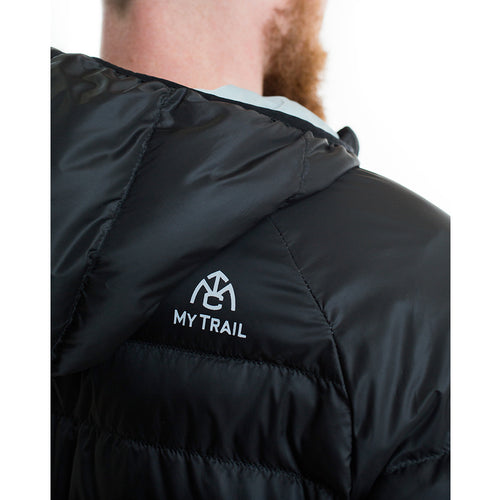 Down jacket hood and reflective logo
