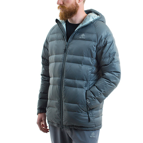 Light Down Hooded Jacket front, Granite Grey