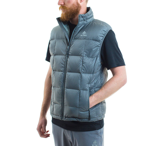 Light Down Vest front, Granite Grey