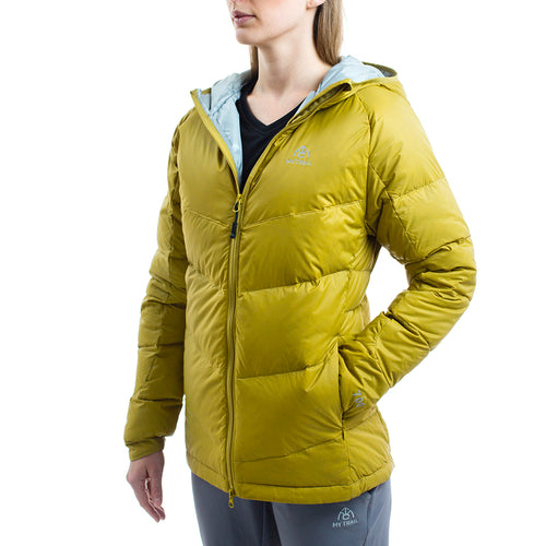 Light Down Hooded Jacket front, Golden Moss