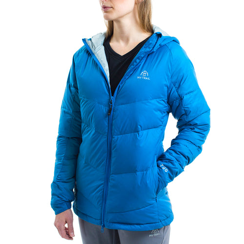 Light Down Hooded Jacket front, Mykonos Blue