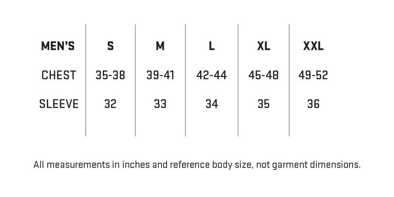 My Trail Men's Jacket Sizing Chart