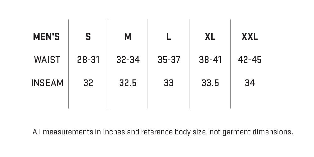 My Trail Men's Pants Sizing Chart