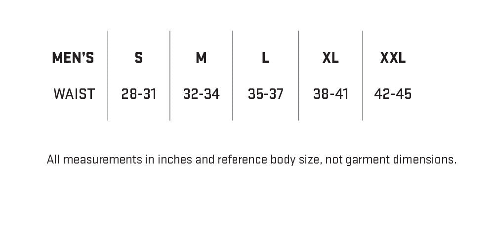 My Trail Men's Shorts Sizing Chart