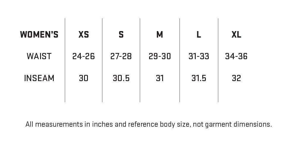 My Trail Women's Pants Sizing Chart