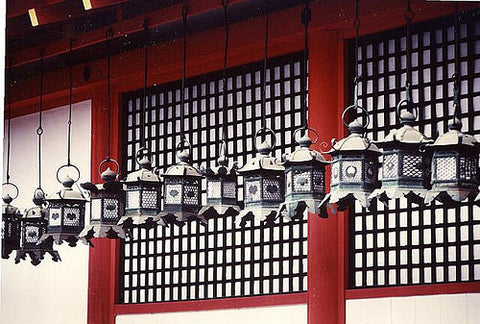 traditional bronze japanese lanterns kyoto