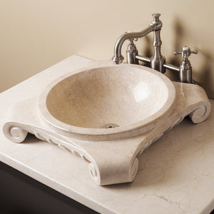 Stone Forest Papiro Cream Marble Corinthian partial drop in sink