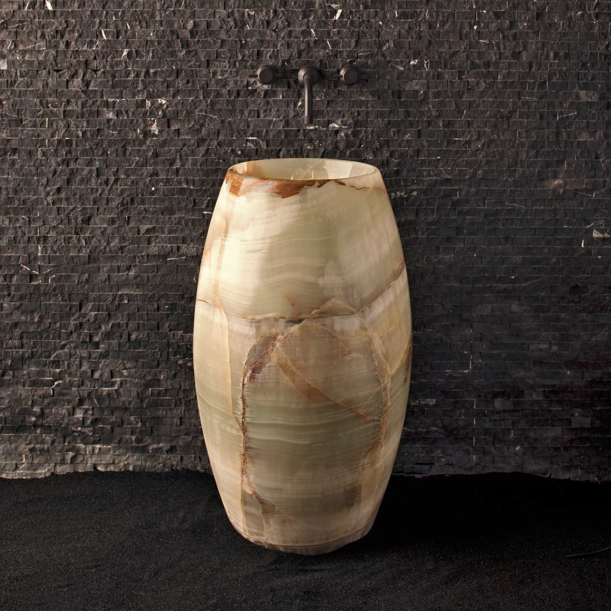 natural stone multi-colored onyx pedestal sink, barrel shape
