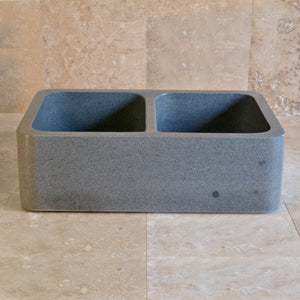 Double Basin Farmhouse Kitchen Sink, Blue-Grey Granite