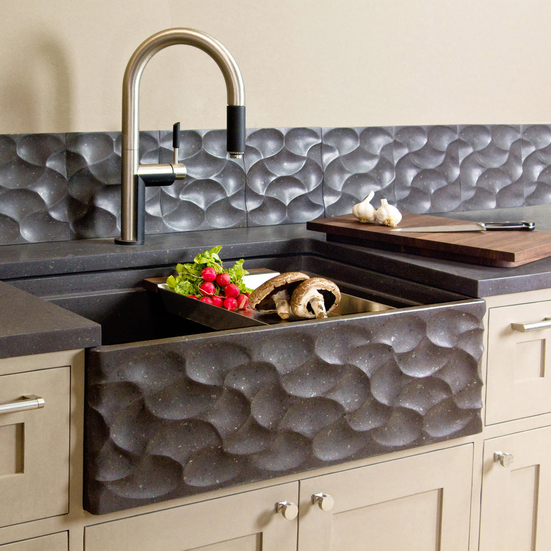 Workstation Wave Front Farmhouse Sink Stone Forest