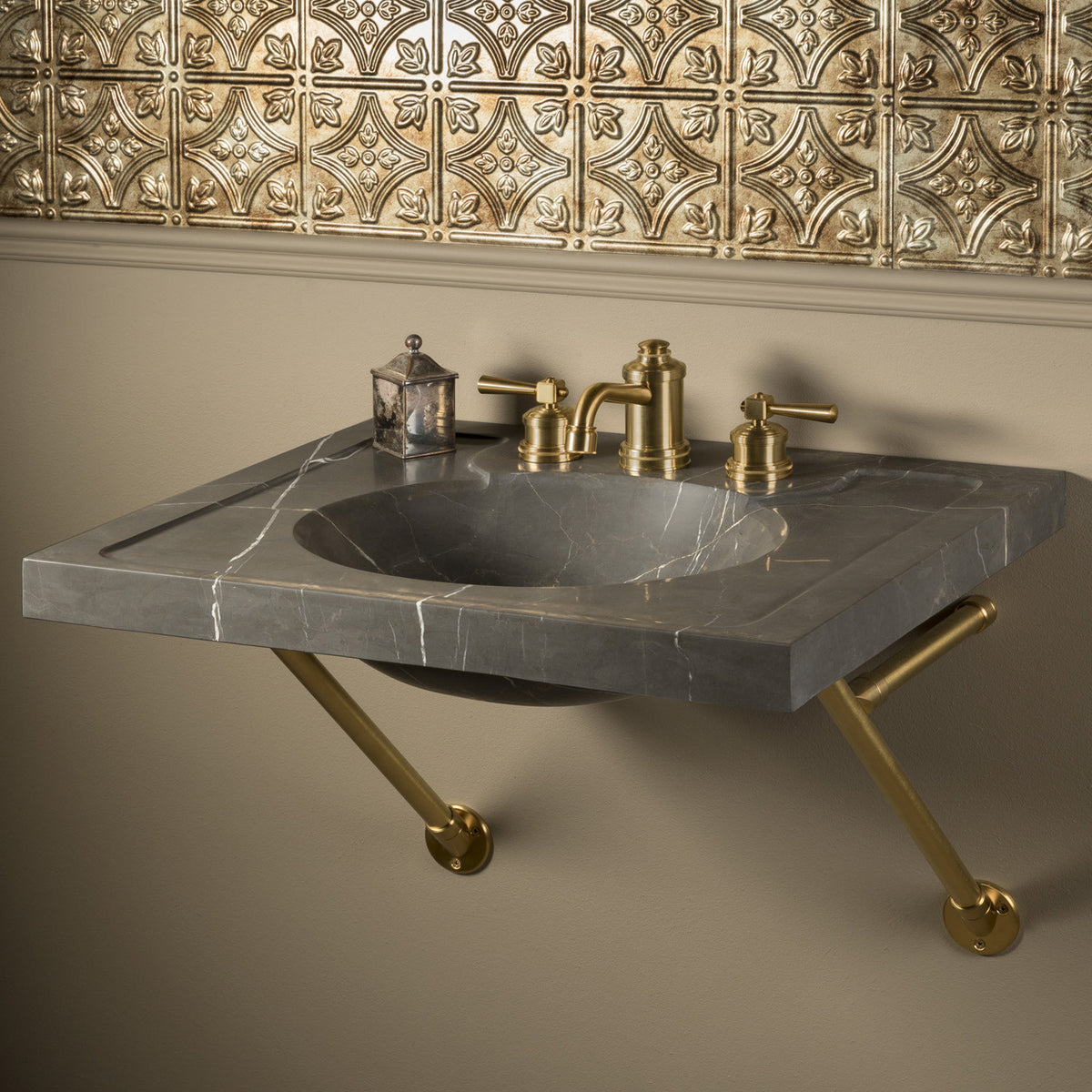 Vintage Washbasin, 27 inch, Marquina Taupe