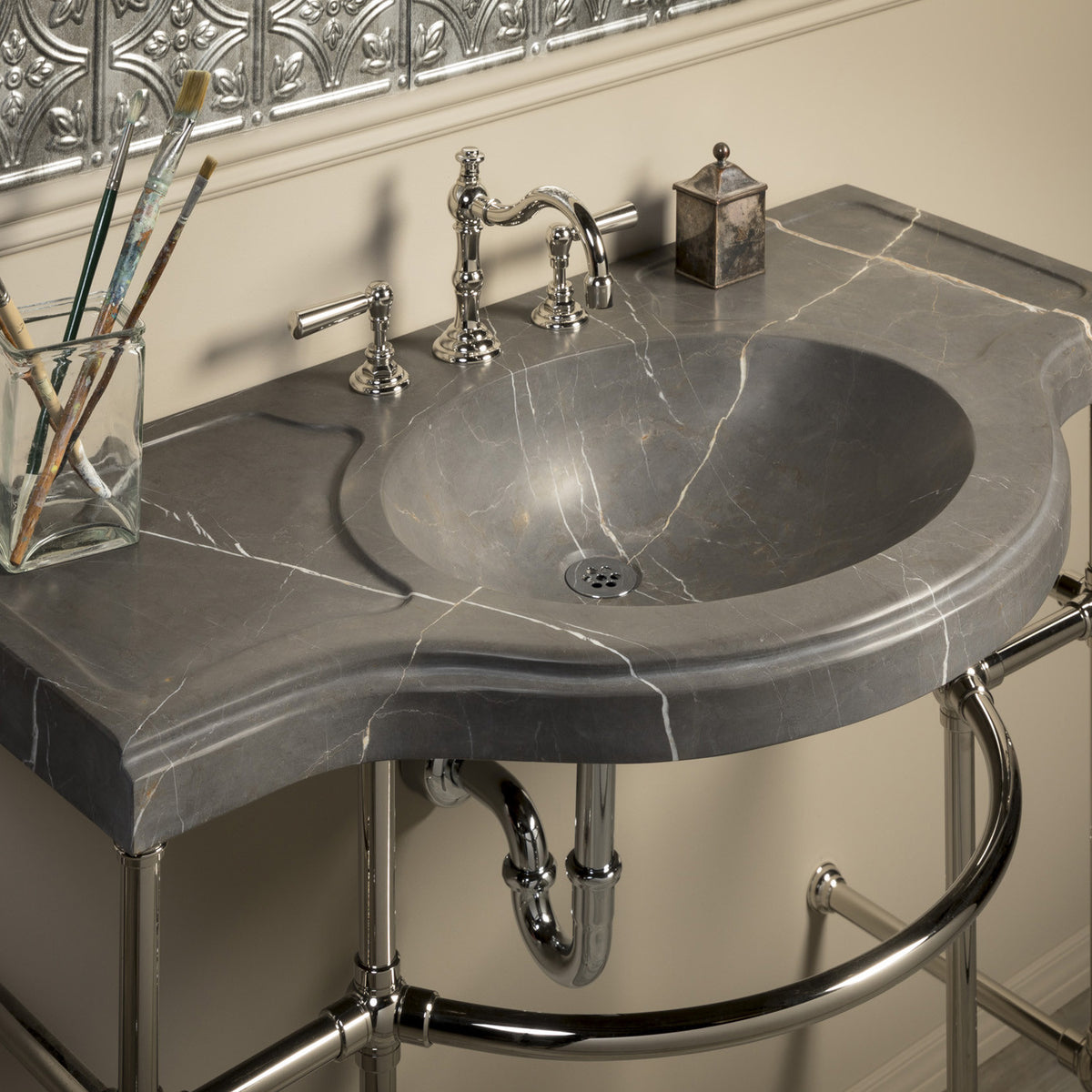 Renaissance Console Top, Marquina Taupe