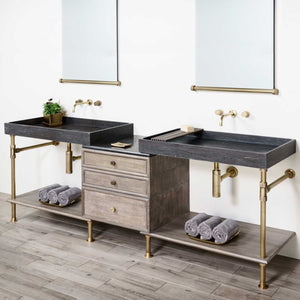 Double Elemental Vanity set.  Shown with Watermark Faucets
