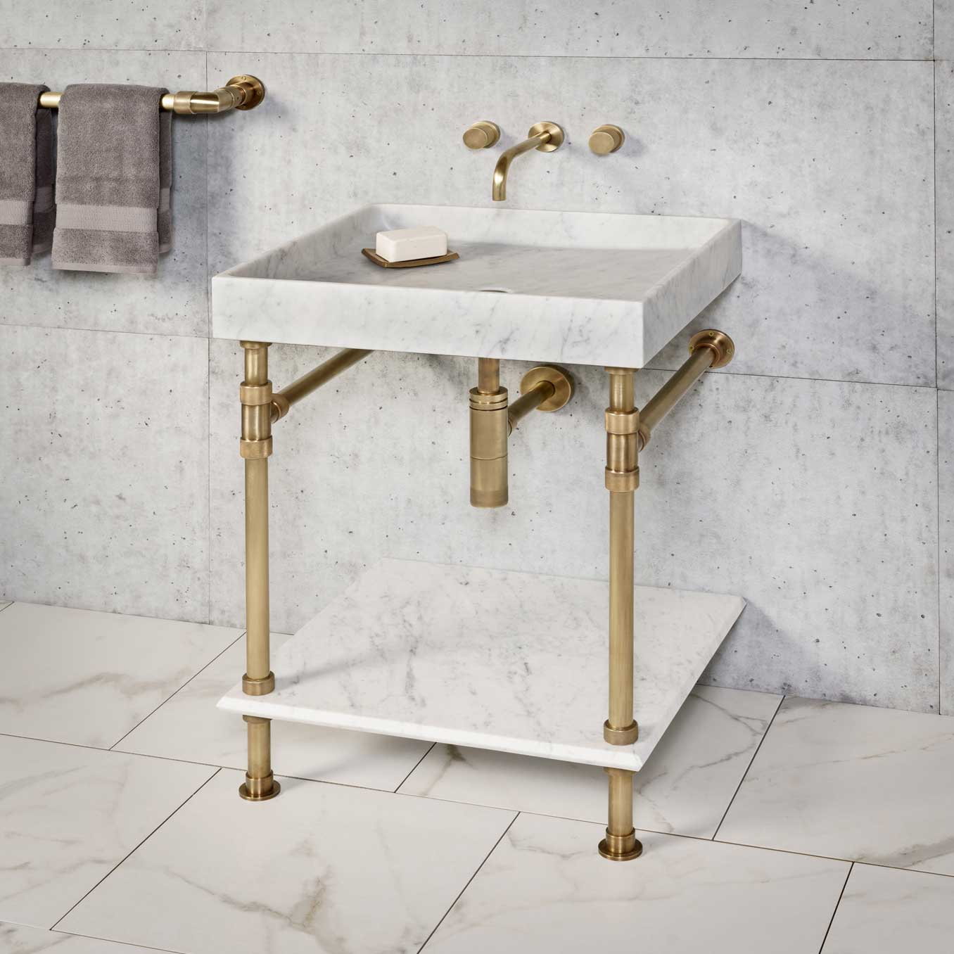 Ventus Bath Console with Stone Shelf