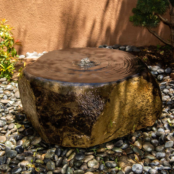 Flat-Topped Natural Basalt Fountain