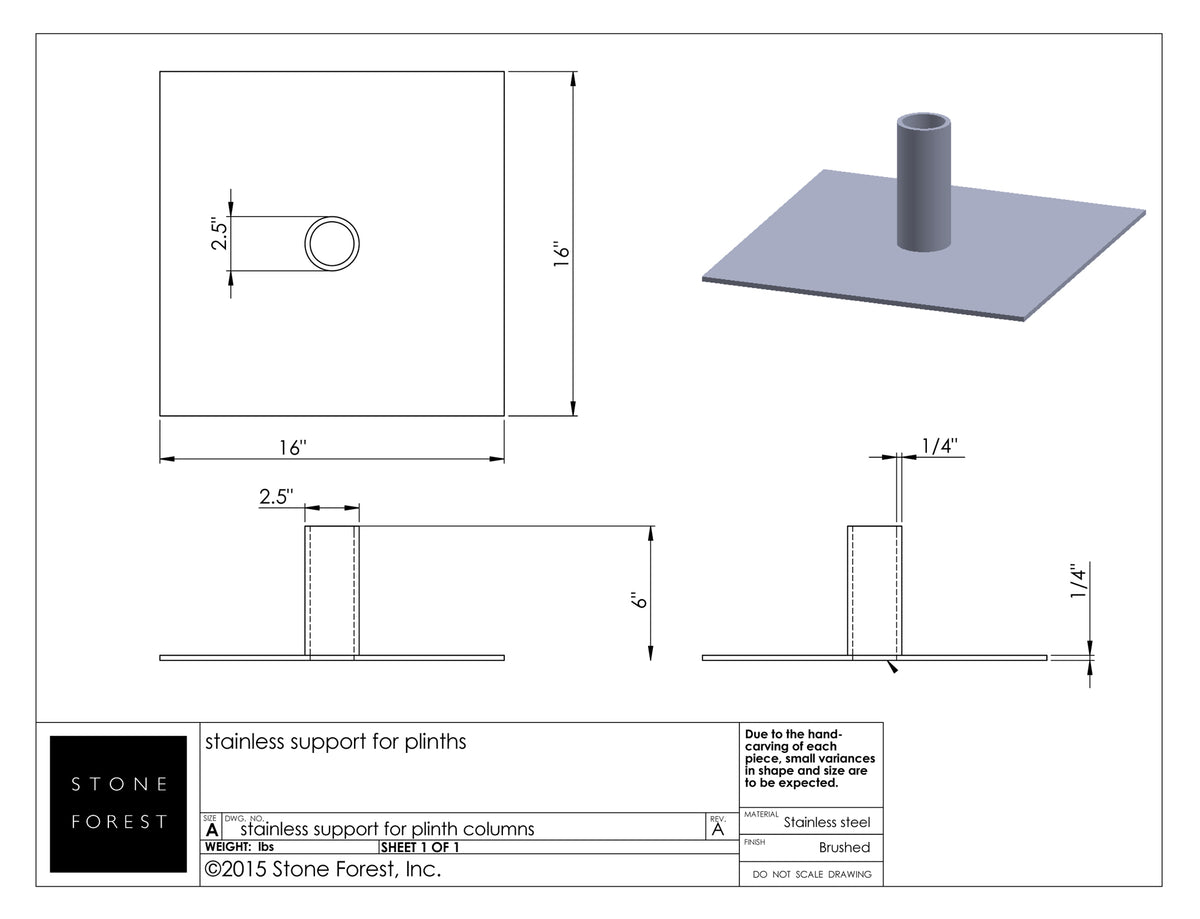 Stainless Steel Support for Onyx Plinth Fountain