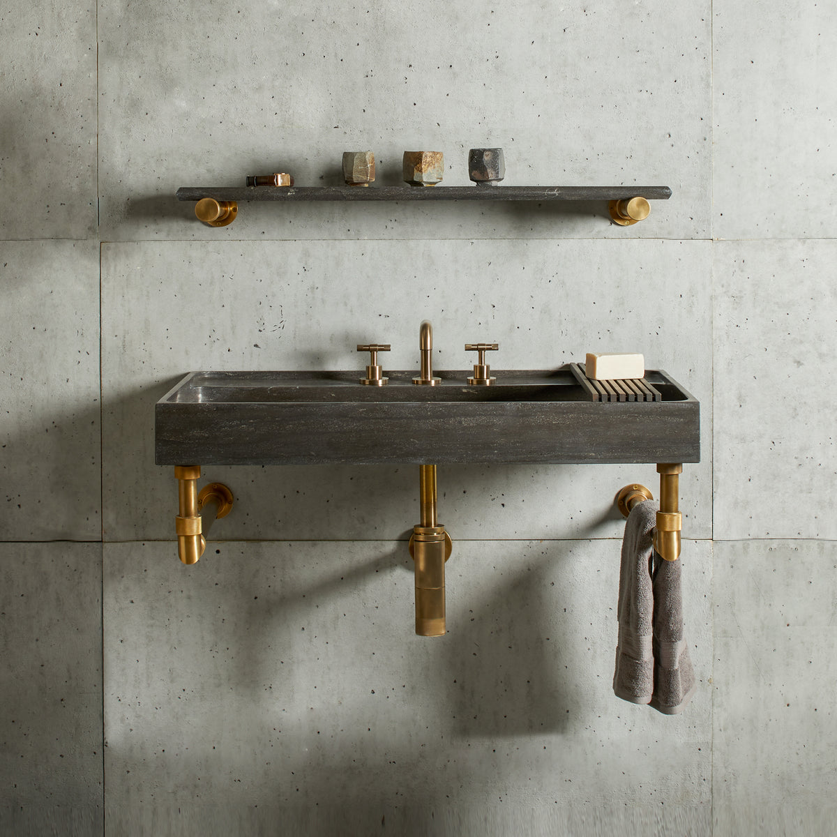 Ventus Bath Sink with Faucet Deck and Elemental Wall Unit