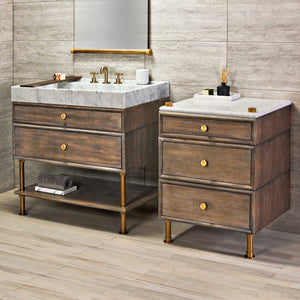 Ventus Bath Sink and Elemental Vanity with Split Drawers
