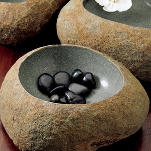 Stone Wabi Basin carved from gray granite boulders