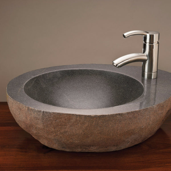 Attirant Natural Vessel With Faucet Mount