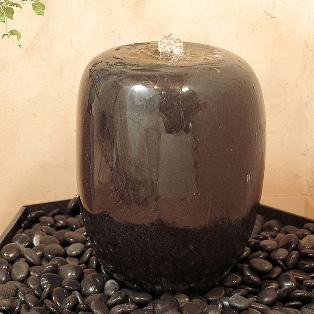 Polished Urn fountain.  Garden fountain shown with optional indoor basin.