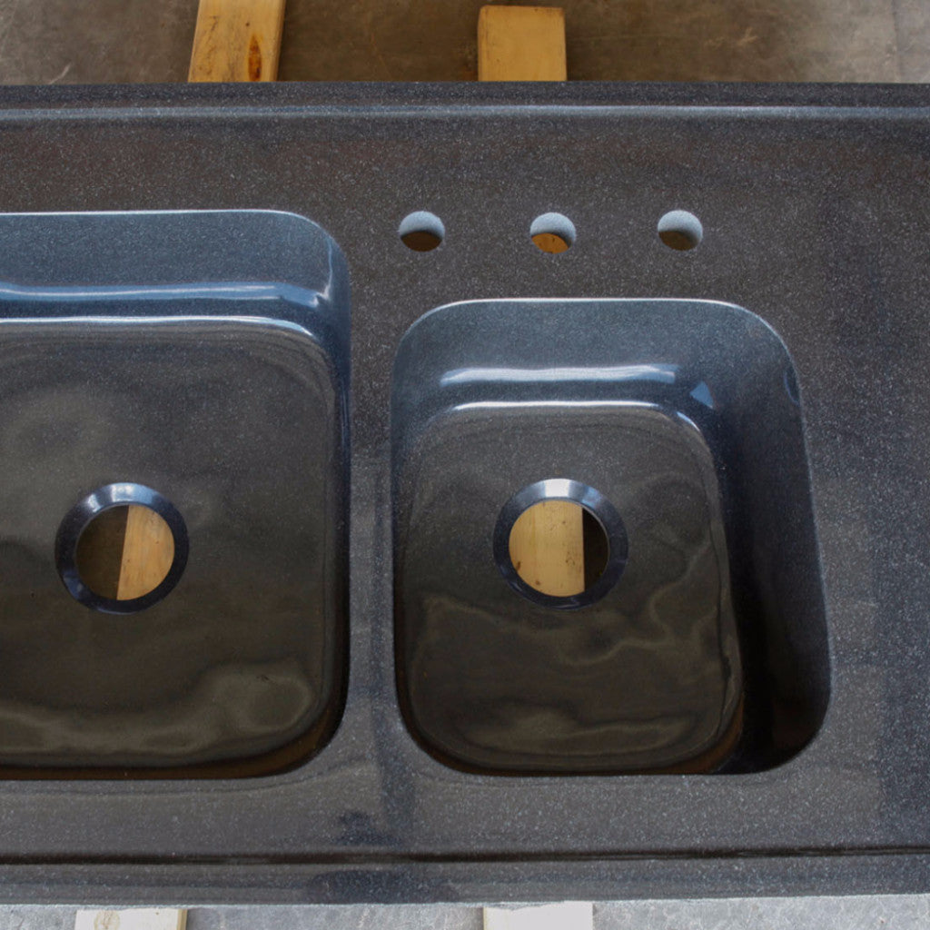 Custom Double Basin Drop-in Kitchen Sink, Black Granite – Stone Forest