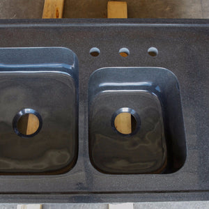 Custom Double Basin Drop-in Kitchen Sink, Black Granite