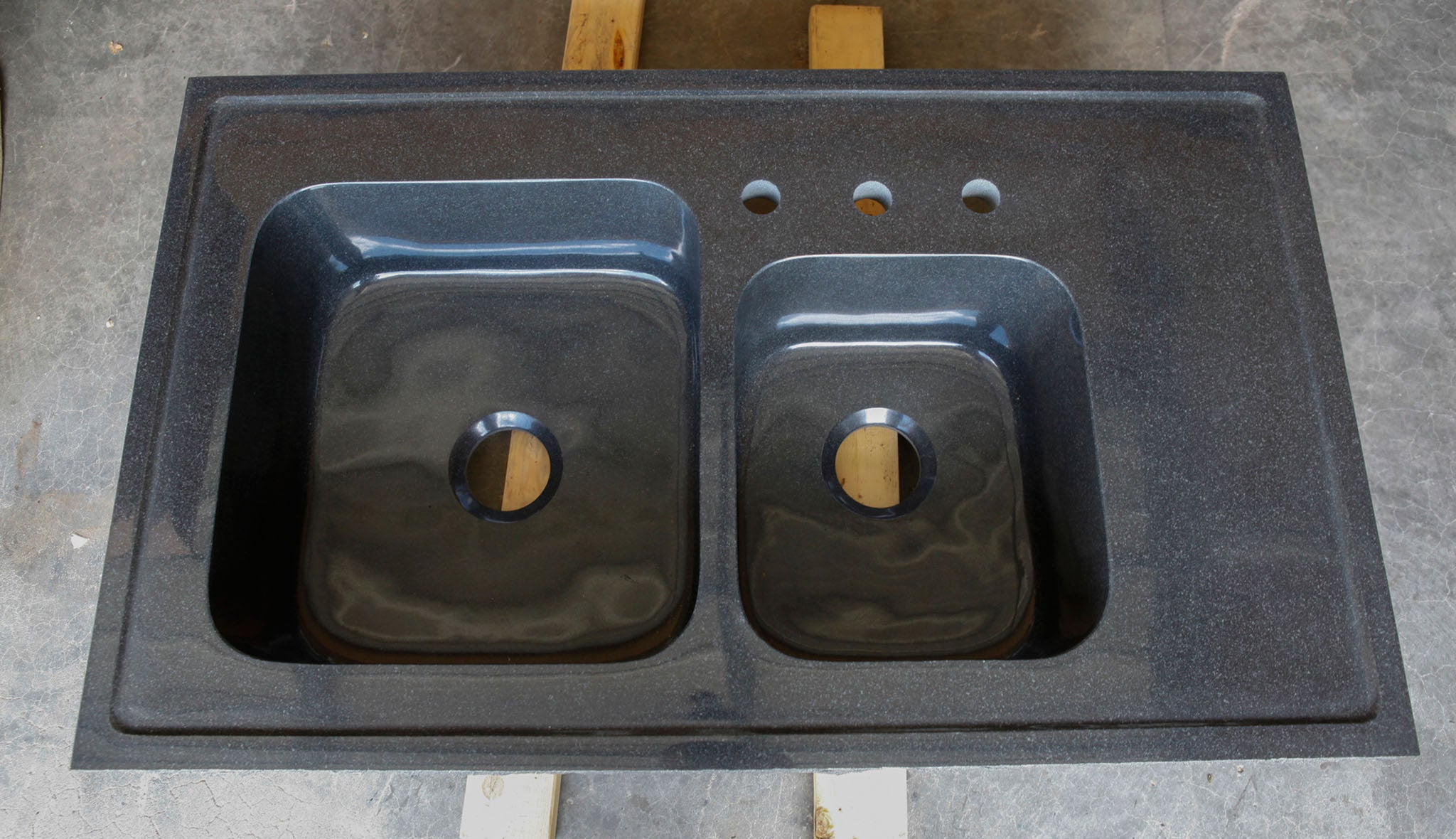 Custom Double Basin Kitchen Sink, Black Granite