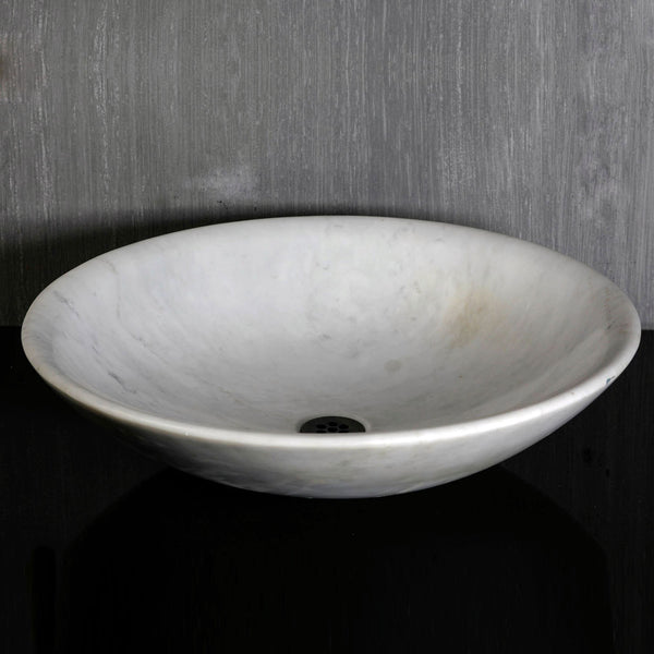 Custom Round Thin Vessel, Carrara Marble #2