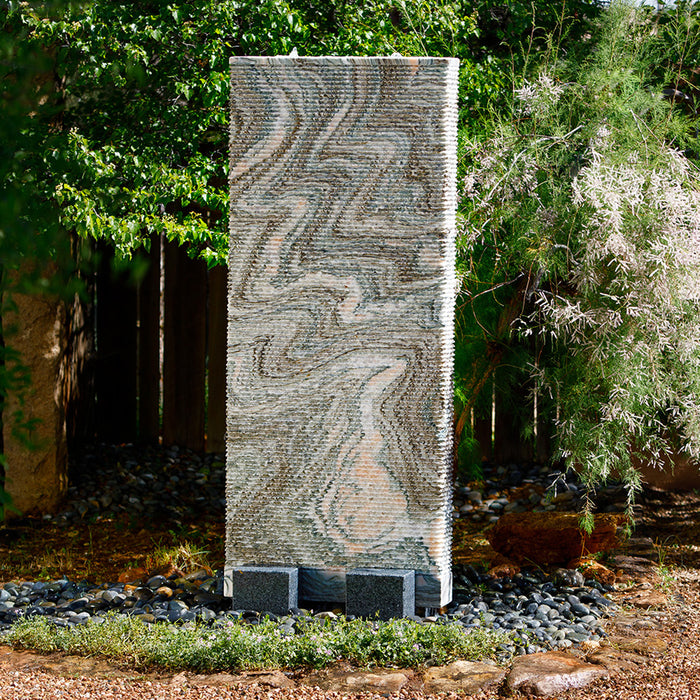 Ribbed Waterwall Fountain - Rainbow Vein Marble